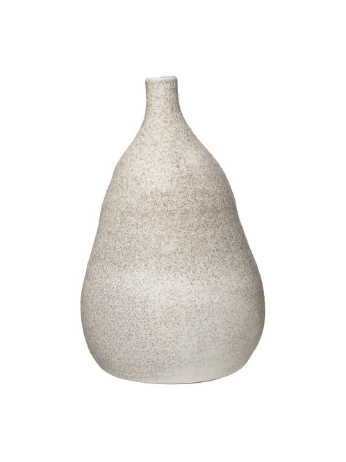 Medium Textured Terracotta Vase with Narrow Top & Distressed Finish