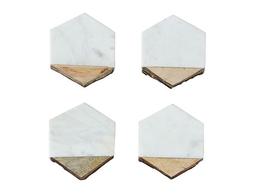 Marble & Mango Wood Coasters - Hexagon