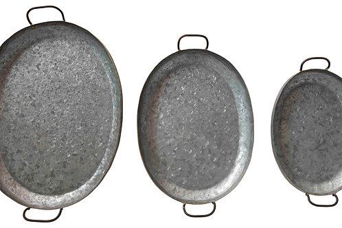 Heavily Distressed Galvanized Metal Trays (Set of 3 Sizes)