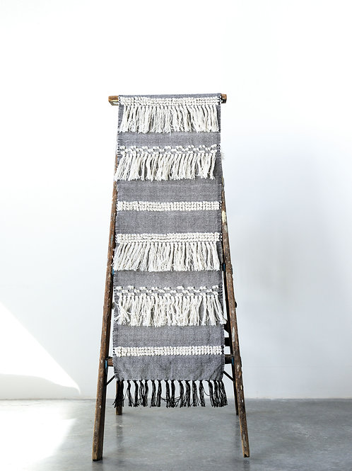 Cotton Blend Table Runner with Fringe Throughout