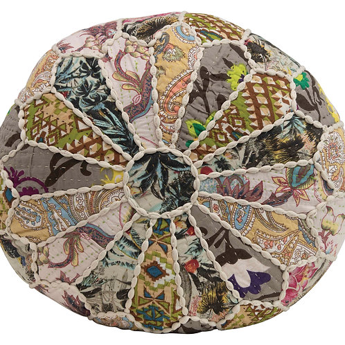 "8""H Patchwork Printed Cotton Kantha Pouf"
