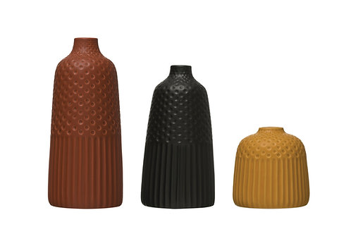 Embossed Stoneware Vases with Fluted & Polka Dot Designs (Set of 3 Sizes/Colors)