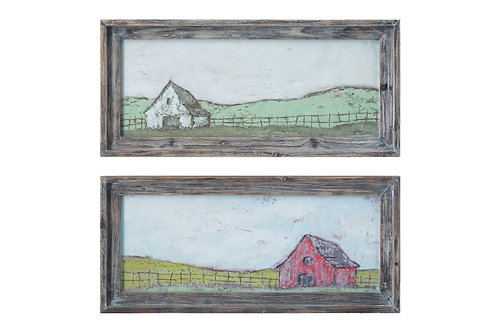 Barn Scene Wall Decor in Distressed Grey Wood Frame (Set of 2 Designs)