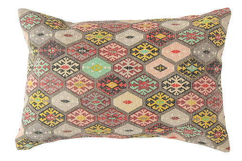 Multicolor Cotton Dhurrie Lumbar Pillow
