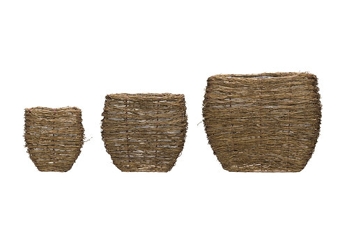 Natural Bamboo Branch Baskets with Plastic Lining (Set of 3 Sizes)
