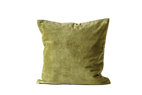Square Cotton Velvet Pillow, Green