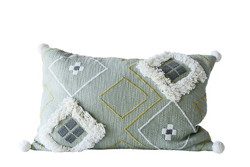 Sage Green Cotton Woven Pillow with White Decorative Pom Poms