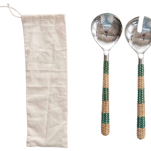 Stainless Steel Salad Servers (Set of 2 Pieces in Drawstring Bag)