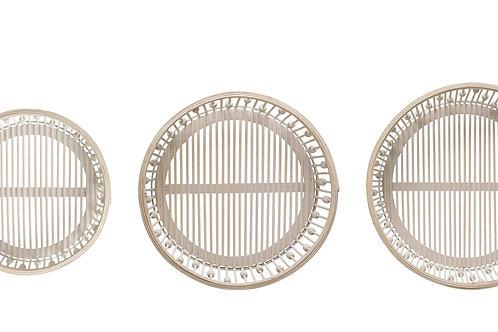 """14.5"""", 16.75"""" & 18.75"""" Round Bamboo Wood Baskets (Set of 3 Sizes)"""