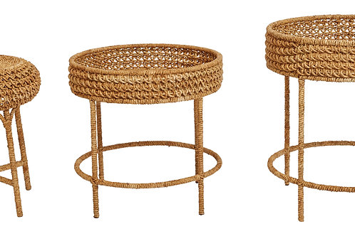 Woven Water Hyacinth & Rattan Accent Tables  (Set of 3 Sizes/Styles)