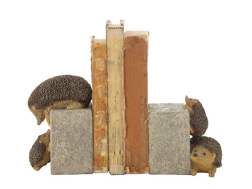 Brown & Grey Resin Hedgehog Bookends (Set of 2 Pieces)
