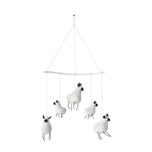 White Wool Felt Sheep Mobile