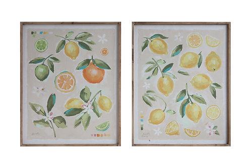 Fruit Image Wood Framed Canvas Wall Decor (Set of 2 Designs)