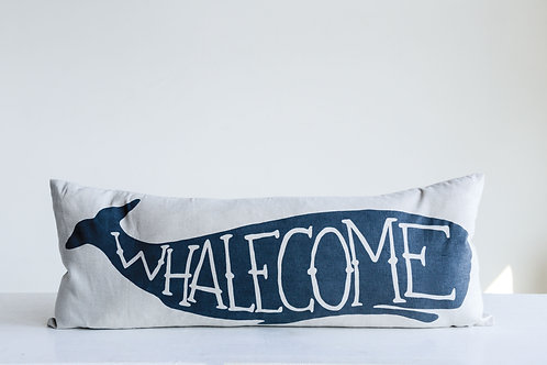 """White Rectangle Cotton Pillow with Blue """"Whalecome"""""""