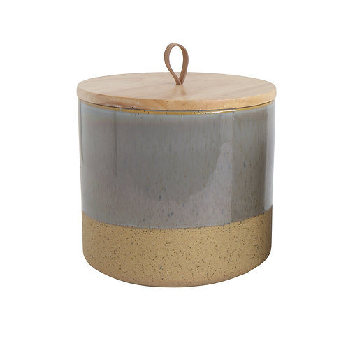 Grey Stoneware Jar with Lid & Leather Loop