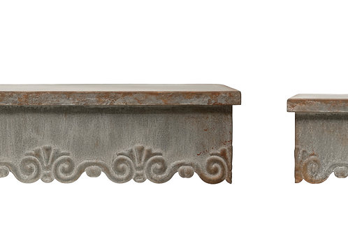 Distressed Metal Wall Shelves with Scalloped Edges (Set of 2 Sizes)