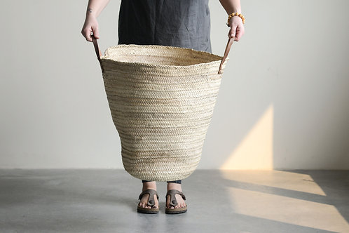 Oversized Handwoven Moroccan Basket with Leather Handles