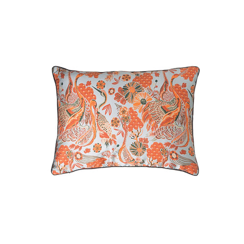 Reversible Blue & Orange Floral Cotton Blend Lumbar Pillow