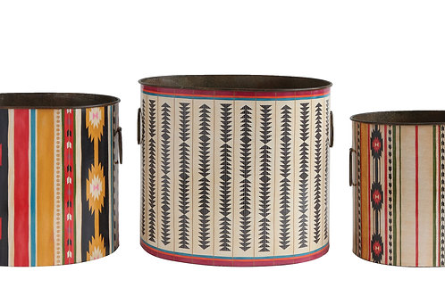 Decorative Metal Buckets with Side Handles (Set of 3 Sizes/Designs)