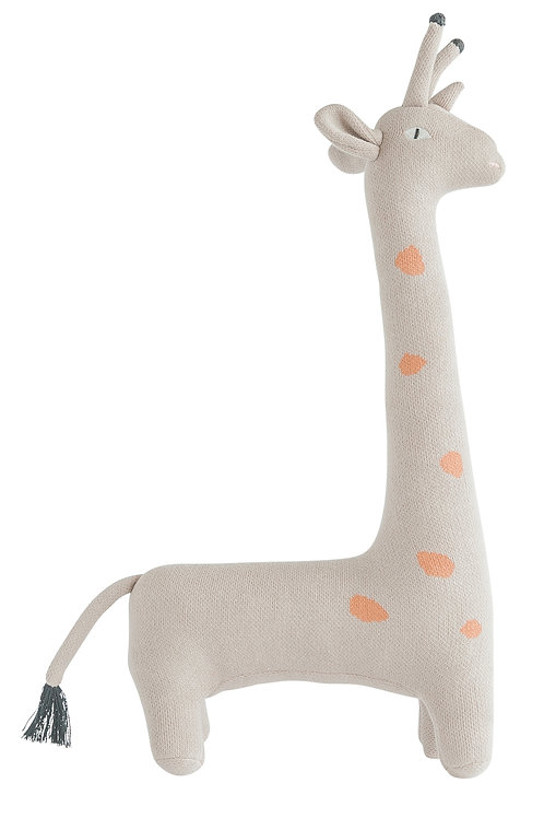 Grey Giraffe Shaped Cotton Knit Pillow with Orange Dots
