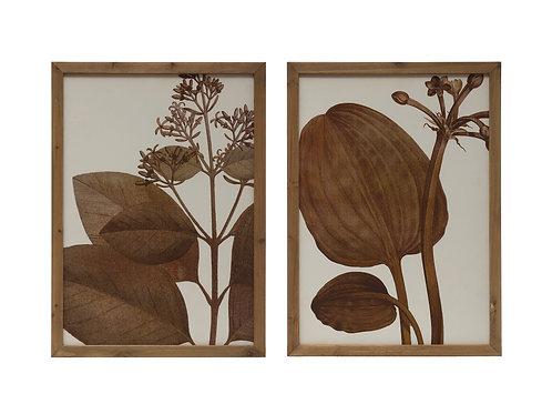 Monochromic Botanical Wood Framed Wall Decor (Set of 2 Styles)