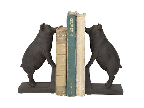 Black Resin Pig Shaped Bookends (Set of 2 Pieces)