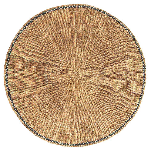 Handwoven Seagrass Mat with Black Cotton Edge