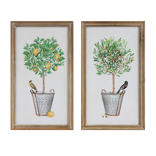 Wood Framed Wall Decor with Potted Plants & Birds (Set of 2 Designs)