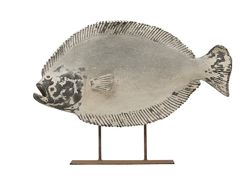Magnesia Halibut Fish on Metal Stand (Hangs or Sits)