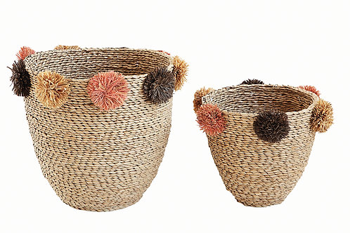 Beige Seagrass Baskets with Brown, Pink & Yellow Pom Poms (Set of 2 Sizes)
