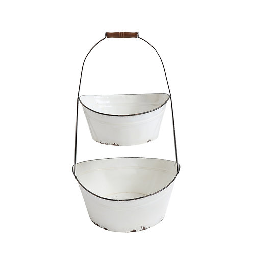 White 2 Tier Metal Bucket