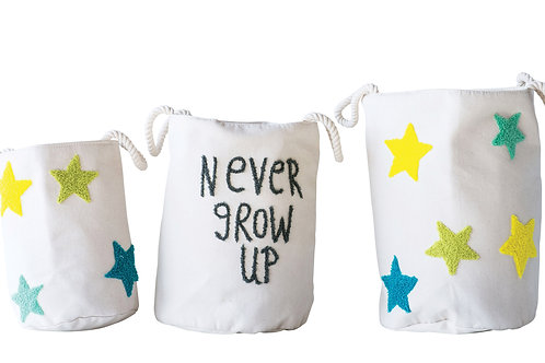 """Never Grow Up"" Round Embroidered Cotton Baskets with Stars (Set of 3 Sizes)"
