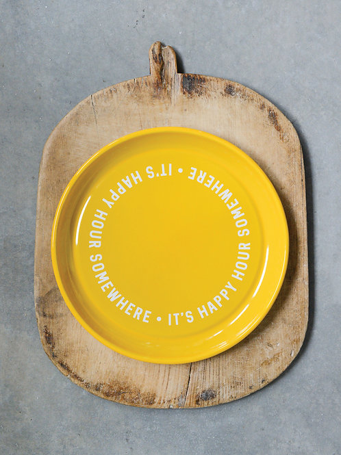 """It's Happy Hour Somewhere"" Yellow Enameled Tray"