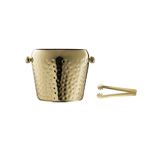 Electroplated & Hammered Stainless Steel Ice Bucket (Set of 2 Pieces)