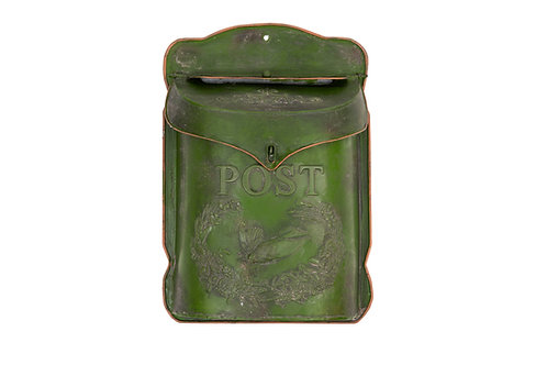 "Green Embossed Tin ""Post"" Letter Box"