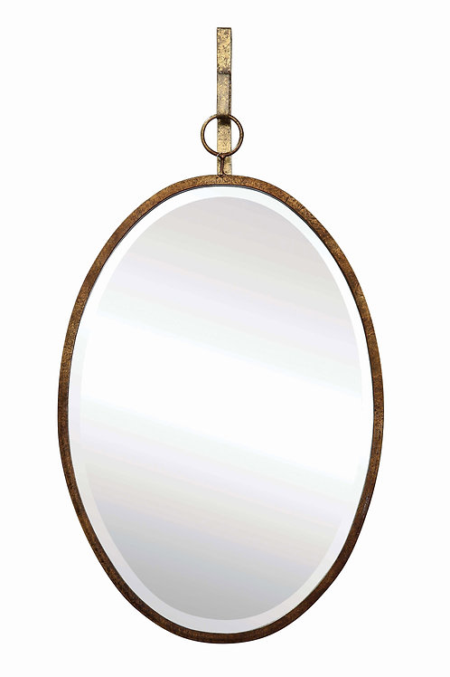 Oval Wall Mirror with Distressed Metal Frame & Hanging Bracket (Set of 2 Pieces)