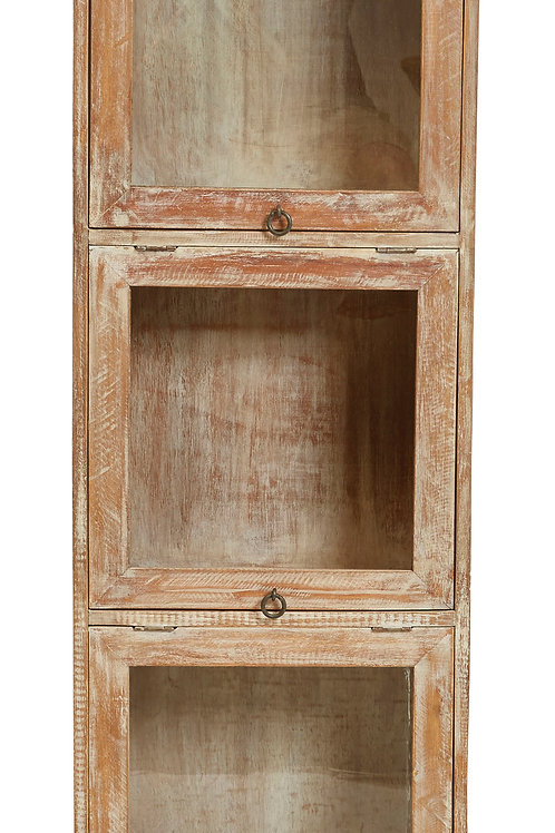 "48""H 3-Section Mango Wood Cabinet with 3 Top Hing Glass Doors"