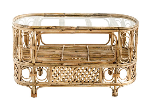 Oval Bamboo Table with Center Shelf & Glass Top