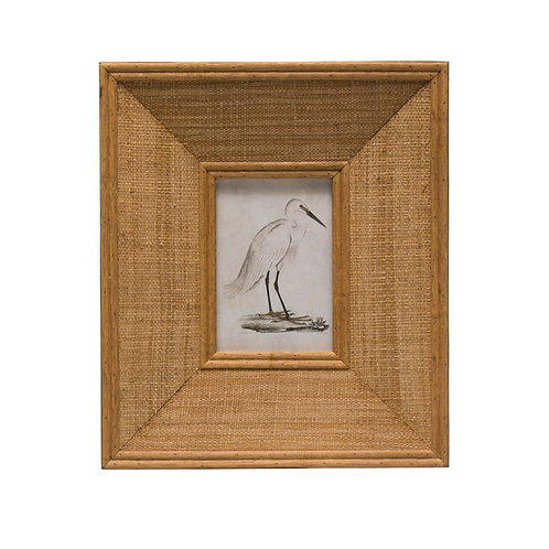 "Rectangle Wood & Raffia Photo Frame (Holds 4"" x 6"" Photo)"