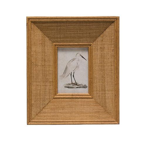 "Rectangle Wood & Raffia Photo Frame (Holds 4"" x 6"" Photo)"