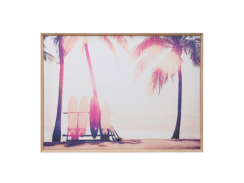 "36""W Framed Surfboard & Palm Trees Canvas Wall Art"