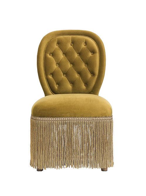 Armless Vintage Reproduction Velvet Chair