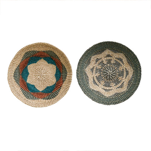 Medium Handwoven Abaca Wall Baskets (Set of 2 Styles)