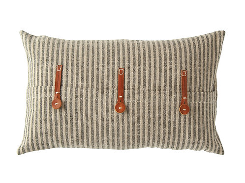 Beige & Black Striped Cotton Ticking Pillow with Leather Trim