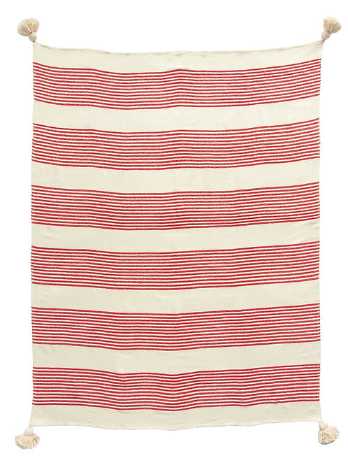 Rayon & Cotton Woven Throw with Stripes & Tassels