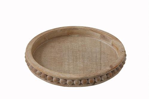 Whitewashed Round Decorative Wood Tray