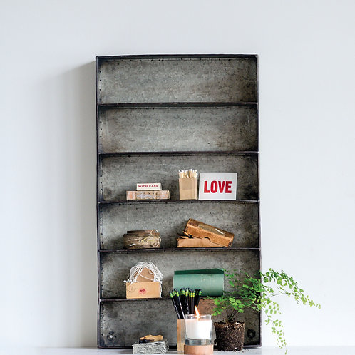 Distressed Grey Metal 6 Tier Wall Shelf