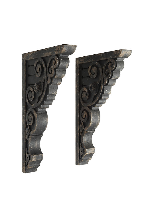 Black Wood Corbels (Set of 2 Pieces) (Each one will vary)