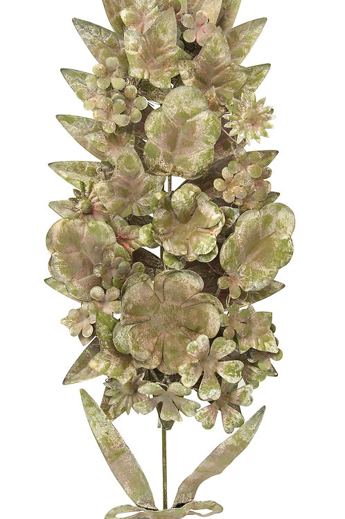 Distressed Green Metal Tole Floral Wall Decor (Each one will vary)