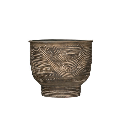 """Debossed Terracotta Planter with Distressed Finish (Holds 9"""" Pot)"""